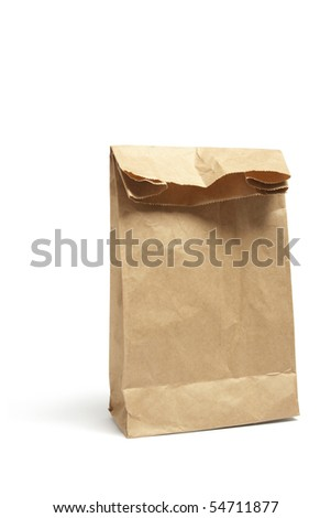 Brown Lunch Bag on White Background - stock photo