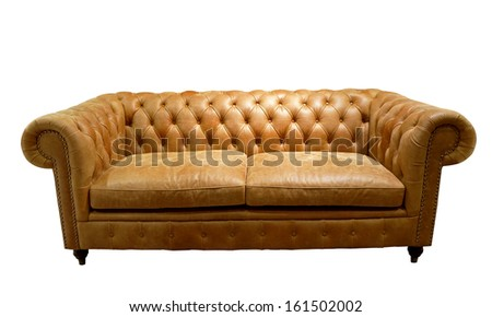 Brown luxurious sofa isolated on white background, front view. - stock photo