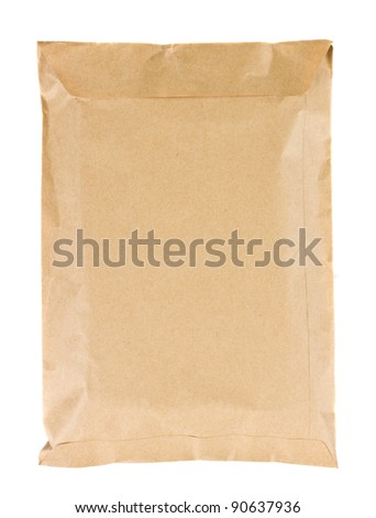 brown mail package  isolated on white background - stock photo