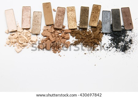 brown makeup powder on white background