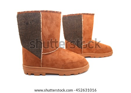 Brown male winter boots isolated on white background