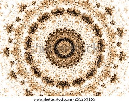 brown mandala fractal ornament design - stock photo