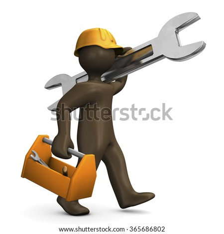 Brown manikin carrying wrench and tool box, 3D rendering