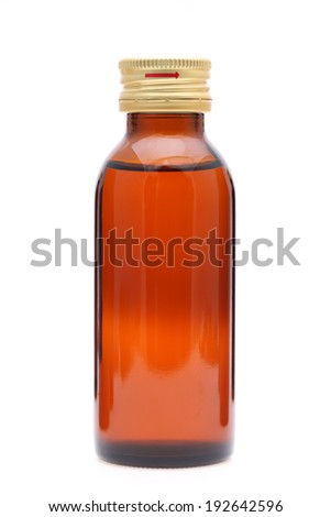 brown medicine bottle isolated on white background - stock photo