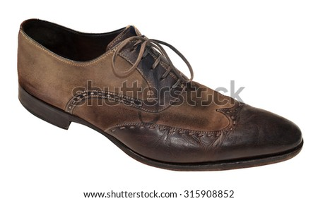 Brown men genuine leather shoes - stock photo