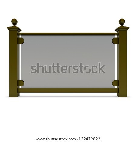 Brown metal railing with glass - stock photo