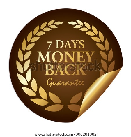 Brown Metallic 7 Days Money Back Guarantee Infographics Peeling Sticker, Icon, Sign or Label Isolated on White Background