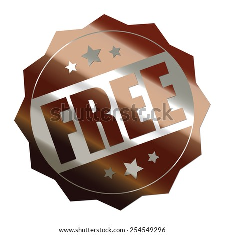 brown metallic free sticker, banner, sign, icon, label isolated on white - stock photo