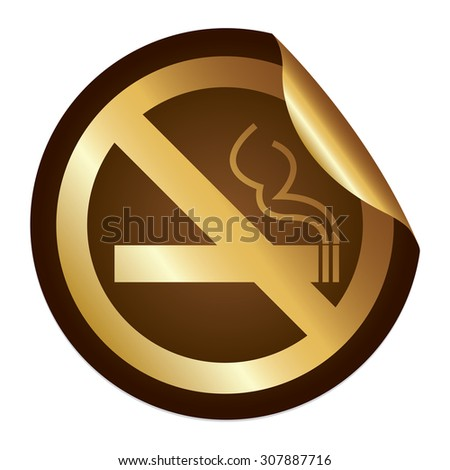Brown Metallic No Smoking Prohibited Sign Infographics Peeling Sticker, Icon or Label Isolated on White Background  - stock photo