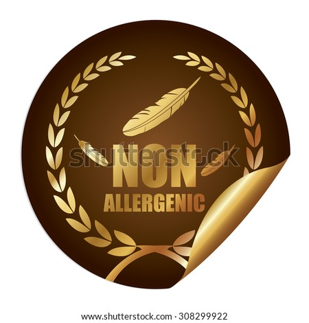 Brown Metallic Non Allergenic Infographics Peeling Sticker, Icon, Badge, Sign or Label Isolated on White Background