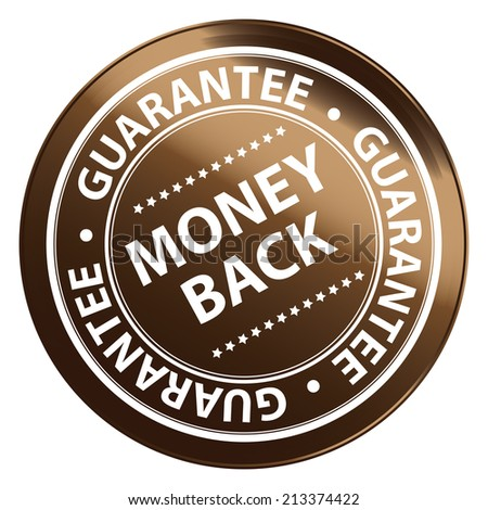Brown Metallic Style Money Back Guarantee Icon, Badge, Label or Sticker for Product Warranty, Quality Assurance, CRM or Customer Satisfaction Concept Isolated on White Background  - stock photo