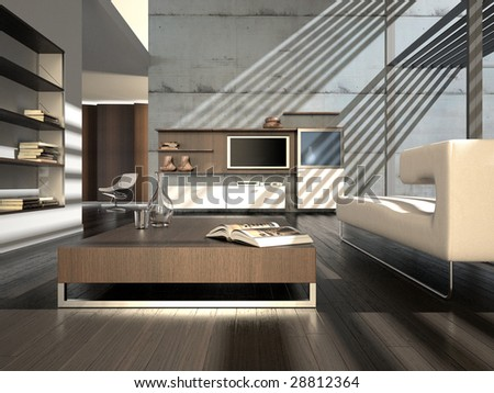 Brown minimalist interior with concrete wall and plasma screen (3D render)