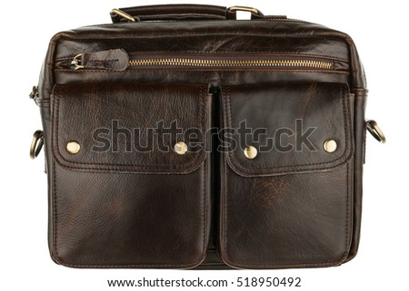 Brown modern leather briefcase, isolated on white background