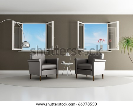 brown modern living room with two armchair and open windows - rendering