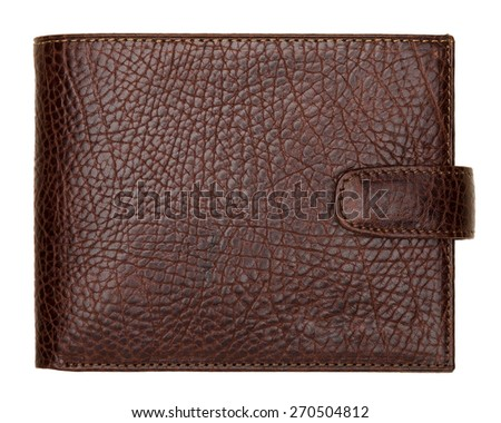 Brown natural leather wallet isolated on white background. Expensive man's purse closeup - stock photo