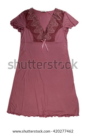 Brown nightgown. Isolate on white. - stock photo