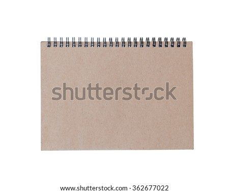 brown notebook front cover isolated on white background. - stock photo