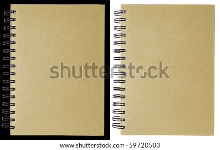 Brown notebook isolated on black and white