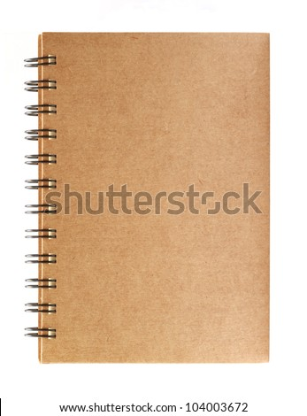 Brown notebook isolated on white background - stock photo
