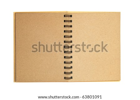 brown notebook recycle paper open two page with copy space area for multipurpose isolated on white background - stock photo