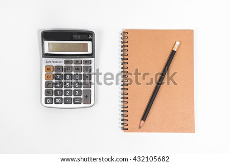 Brown notebook with black pencil and calculator on white background. Notebook isolated. Blank notebook.