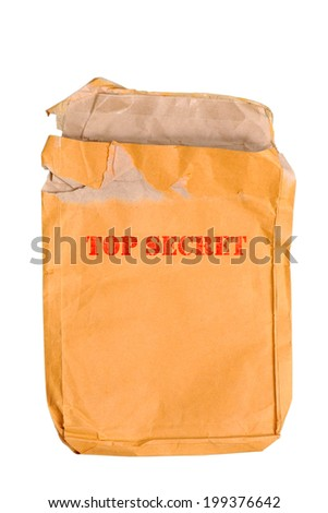Brown old envelope isolated on white background - stock photo