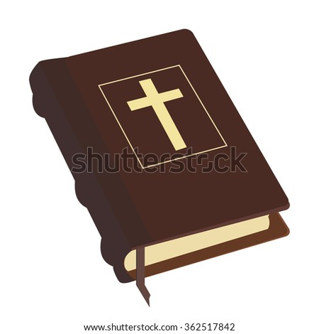 Brown old holy bible with gold cross raster icon isolated, religious bookstore, closed book - stock photo