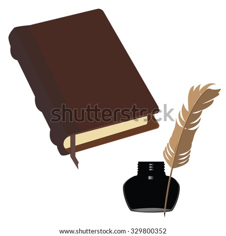 Brown old leather book with bookmark and black  inkwell with feather raster set - stock photo