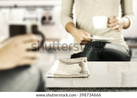 brown old napkin and hands of coffee