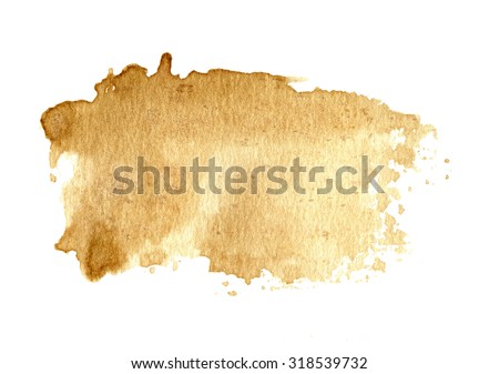 Brown old paper texture background, coffee color, hand paint,  with drops, isolated on white - stock photo
