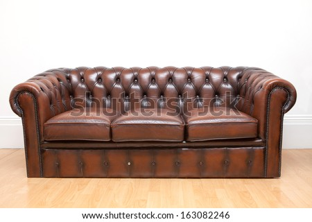 Brown Old Vintage genuine leather Sofa Texture Background  - stock photo