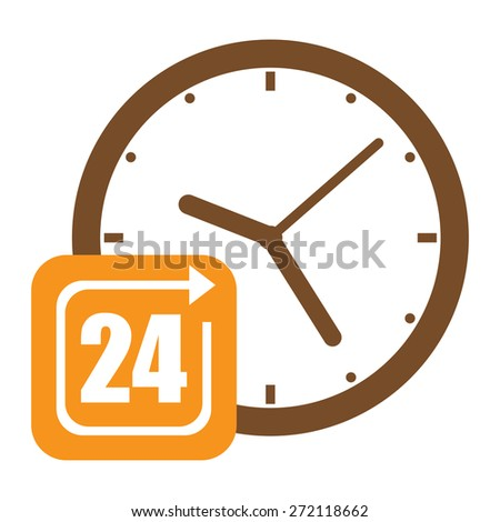 Brown Open 24 Hours or Service 24 Hours Label, Sign or Icon Isolated on White Background - stock photo