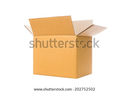 Brown opened various cardboard box isolated on white background.