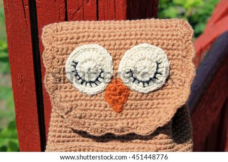 Brown Owl head crochet Backpack for children. - stock photo