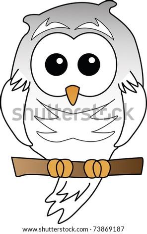 Brown Owl illustration on white - stock photo