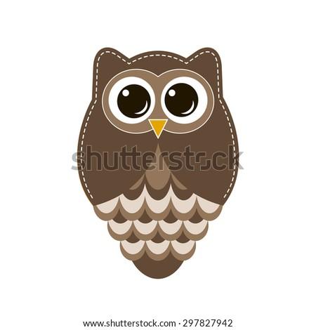 Brown owl. Raster version - stock photo