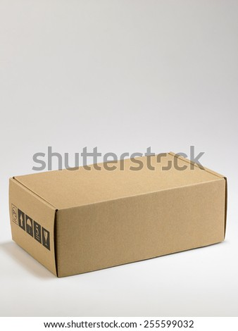 brown package on the white background - stock photo