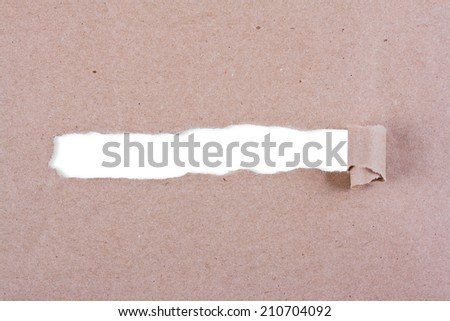 Brown package paper torn to reveal white panel ideal for copy space. - stock photo
