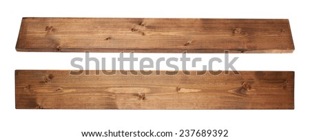 Brown paint coated pine wood board plank isolated over the white background, set of two foreshortenigns - stock photo