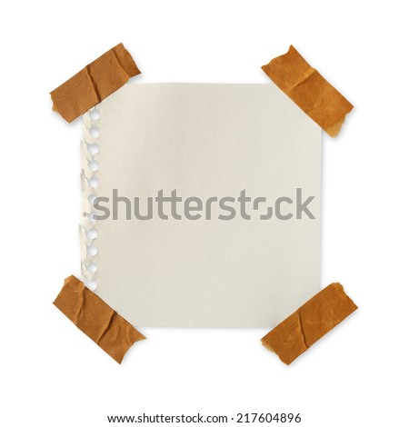 Brown paper and stick masking tape on a white background with clipping paths. - stock photo