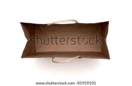 brown paper bag isolated on a white background. - stock photo