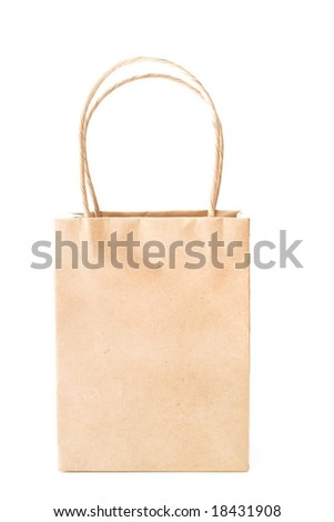 brown paper bag isolated on a white background. Copy space available.