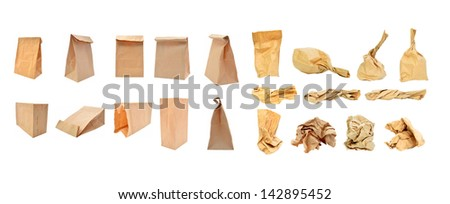 Brown paper bag isolated on white - stock photo