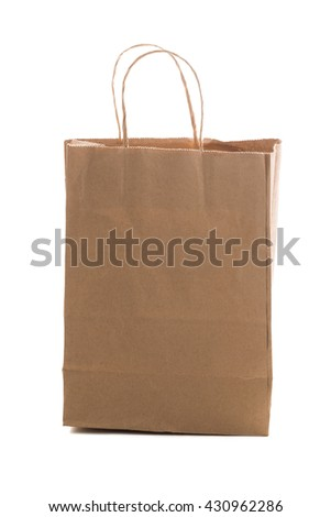 brown paper bag isolated on white background  - stock photo