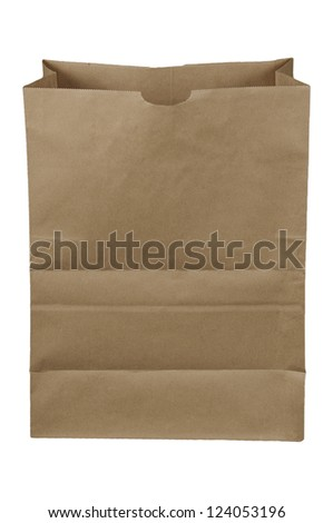 Brown paper bag isolated over a white background - stock photo