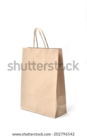 brown paper bag on a white background - stock photo