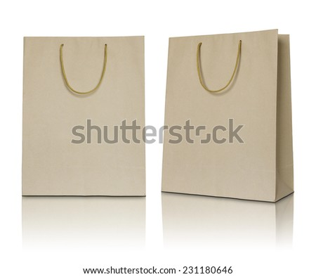 Brown paper bag on white background - stock photo