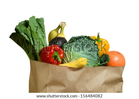 Brown paper bag with fruits and vegetables isolated over white background