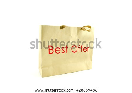 brown paper bag with word best offer and hidden handle isolated on white background