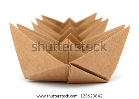 Brown Paper boats in row line